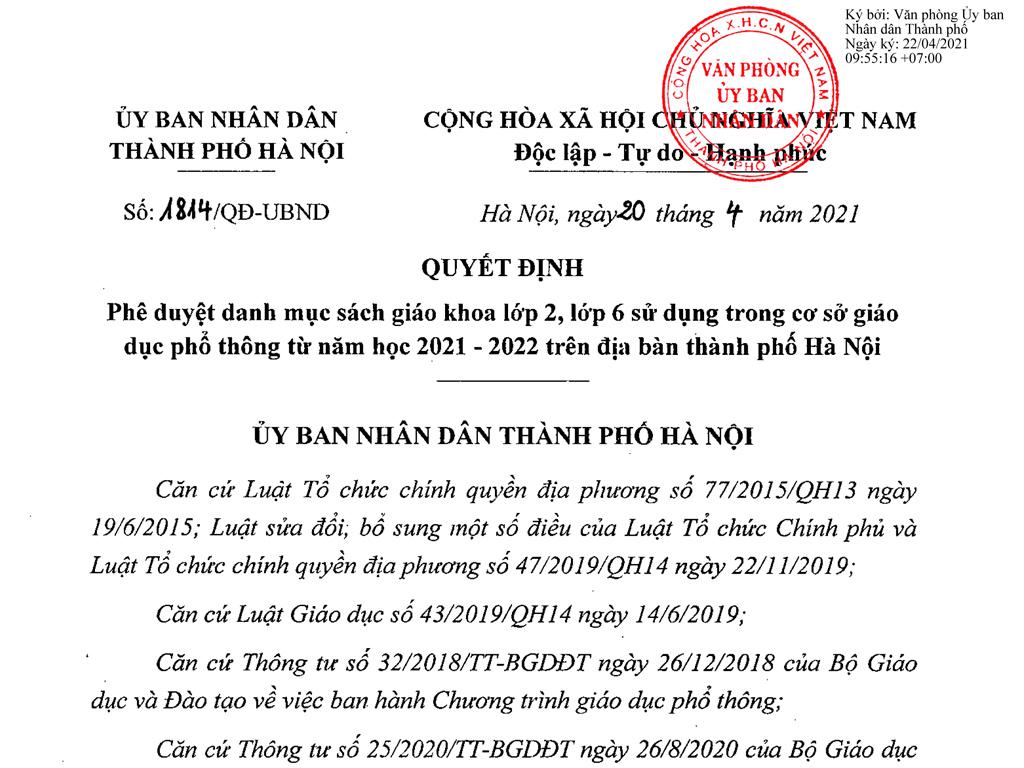 Danh mục SGK lớp 2 phê duyệt năm 2021-2022